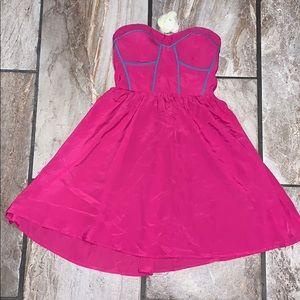Hot Pink Strapless Mini Dress